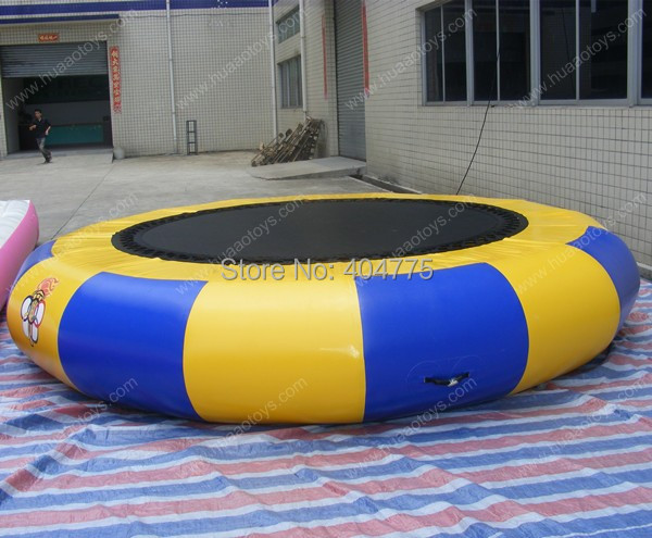 Free shipping inflatable water trampoline with pump carry bag and repair kit