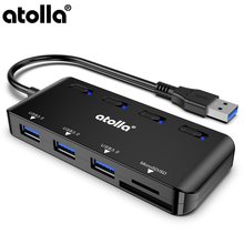 atolla USB 3.0 Hub, 3 ports data hub adapter with SD / TF card reader Ultra thin distributor single switch and LED.