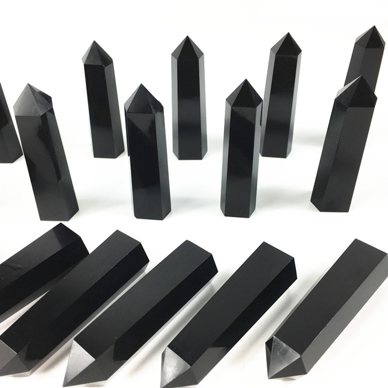 Natural obsidian quartz crystal point wand crystal quartz obelisk reiki healing energy gemstone for home decora in Stones from Home Garden