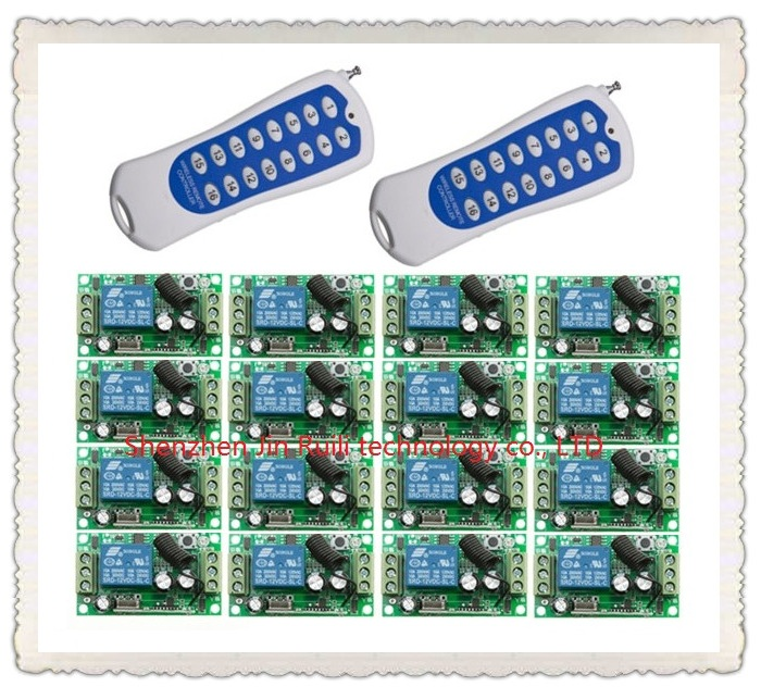 ФОТО 16CH Control 16Pcs 1 Channel 1CH DC 12V 10A Relay Receivers Wireless Lamp System JRL 4280