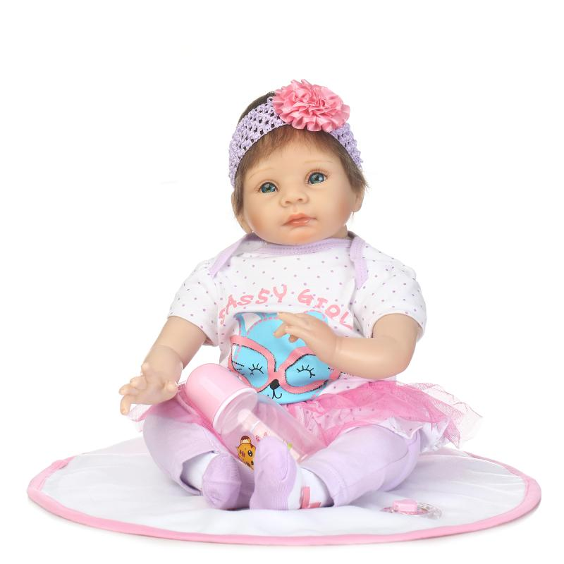 22 Inches Baby Reborn 55 Cm Reborn Doll Baby Handmade Lifelike Cotton Body Silicone Sleeping Baby Doll Toy