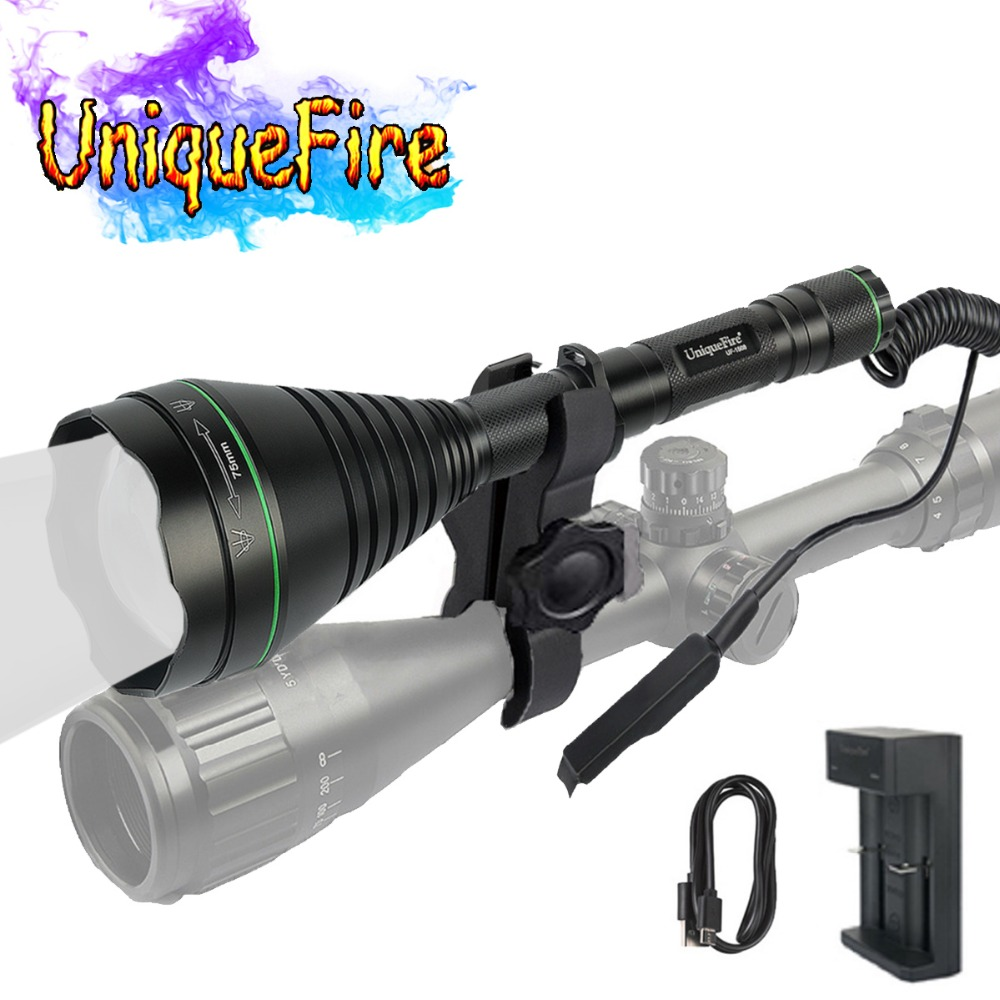 UniqueFire 1508 T75 IR 940nm Newest Hunting Flashlight Illuminator Aspherical Lens+Scope Mount+Rat Tail+Charger SET For