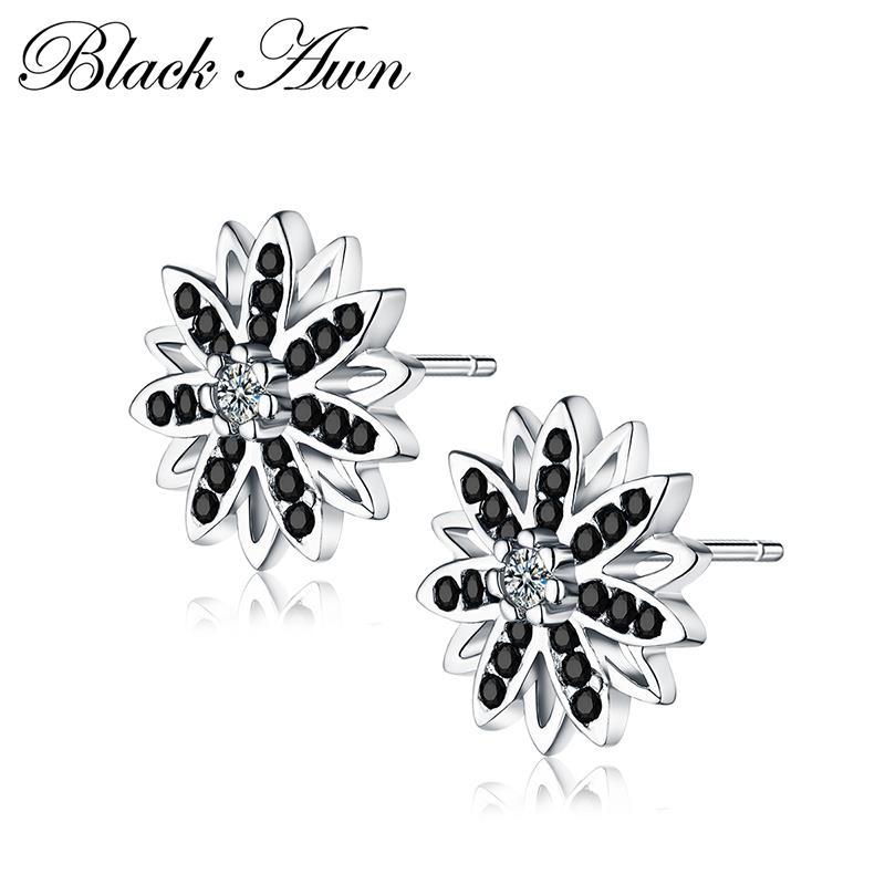 Romantic Genuine 925 Sterling Silver Fine Jewelry Flower Black&White Stone Engagement Stud Earrings For Women T119