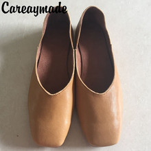 Careaymade-New summer 2019 sheepskin comfort, female realr leather square head shallow mouth grandma's shoes, casual Fltas shoes