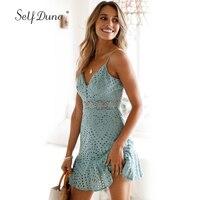 Self Duna Sundress 2018 Summer Women Lace Dress Hollow Out Green Blue Floral Crochet Ruffle Sexy