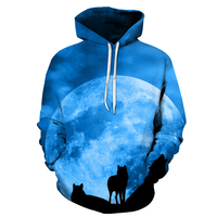 Moon Wolf Hoodies 3D Brand Hoodies Men Sweatshirts Fashion Pullover Casual Tracksuit 6XL Quality Cool Male
