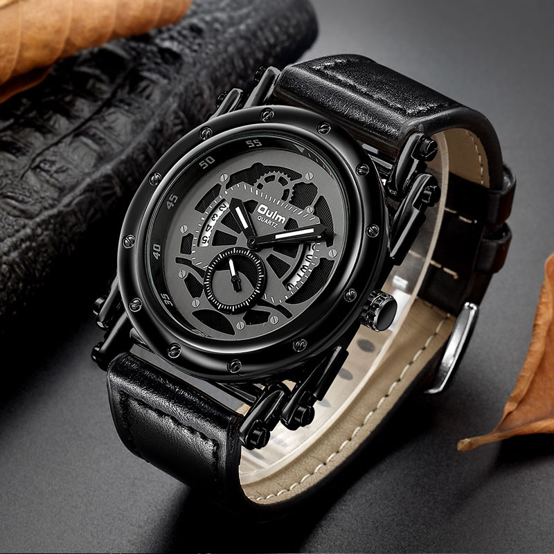 Oulm New Casual Sport Watches Auto Date Calendar Quartz Clock Male Leather Strap Wristwatch Men s