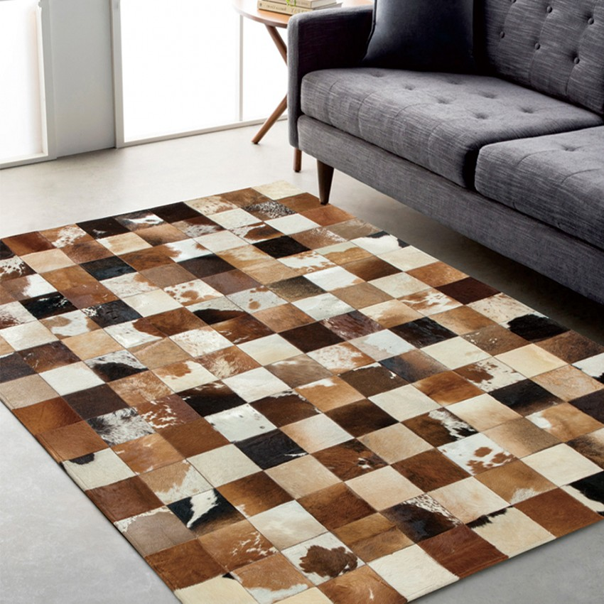 American Style Cowhide Skin Fur Handmade Seamed Patchwork Rug, Fur Chequer Carpet For Living Room, Office Decoration Mat
