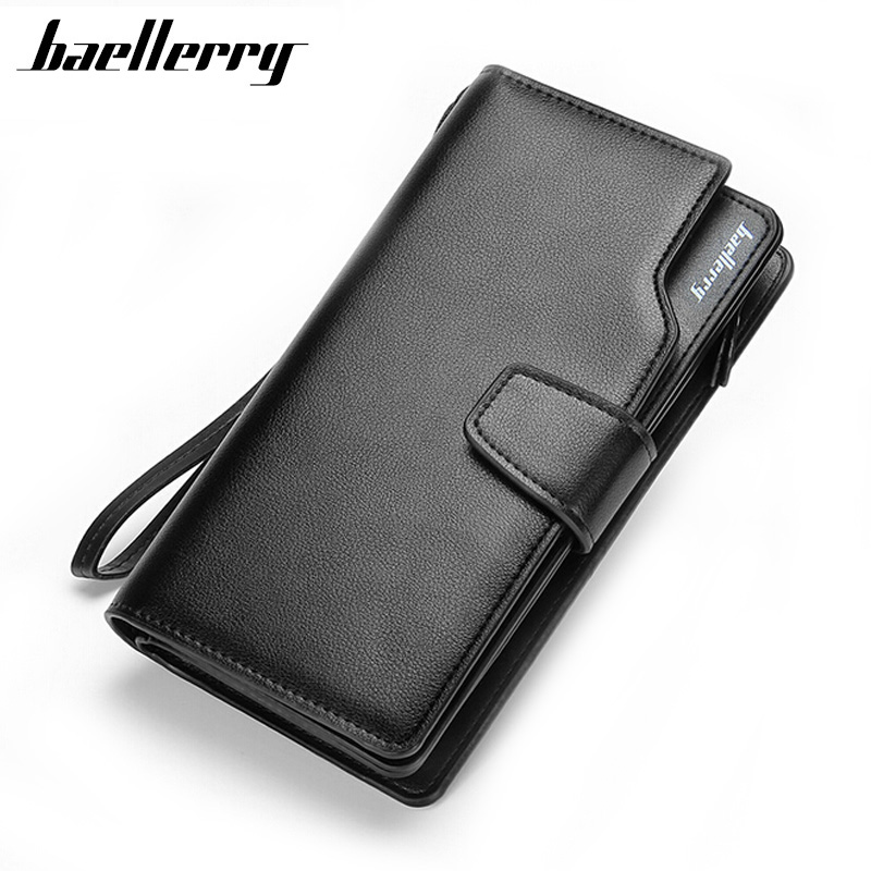 Leather Long Wallet Men Purse Brand Zipper Male Wallets Money Bag Clutch Multi-function with Card Holder Coin Purses Pocket fashion baellerry men pu leather portable card holder organizer long wallet money coin purse male pocket pochette clutch bag