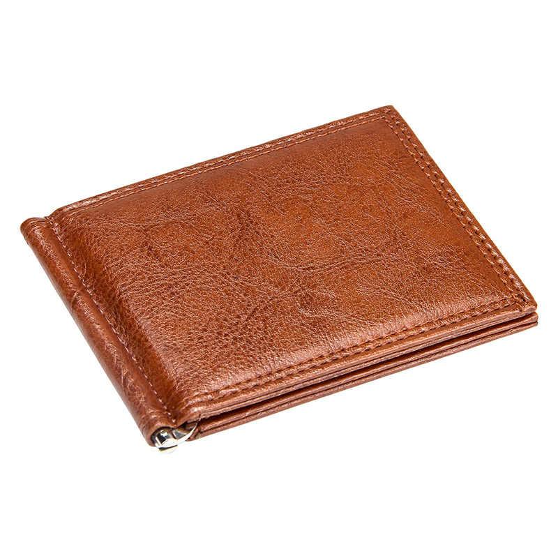 W stylu Vintage Slim pieniądze klip z kieszonka na monety biznes mały męski portfel Bifold Pu skórzane damskie skórzane torebki na co dzień karty portfele proste klipy środków pieniężnych