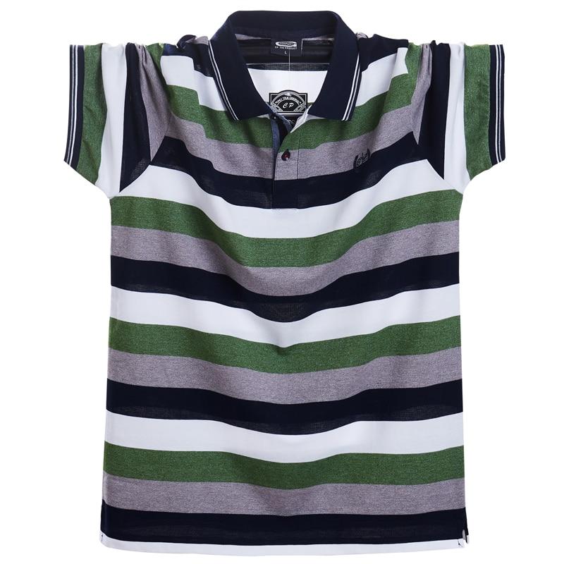 Мужская футболка поло, летняя, повседневная, дышащая, с коротким рукавом, в полоску, большого размера 5xlПоло   -