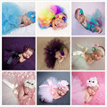 2017 neonatal photography props peacock feather handmade braided baby ballet spinning skirt rainbow