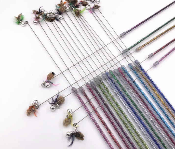 usd 1.45/pc pet cat kitten toys teaser wands fishing pole wands flying insect cat playing toys feather 20pcs/lot