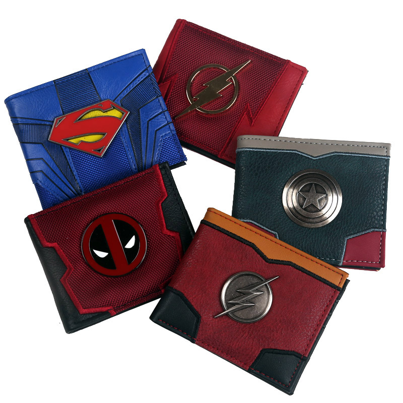 Bi-Fold Wallet Window-Credit-Card-Slot Comic Flash Marvel Captain Deadpool Superman ID
