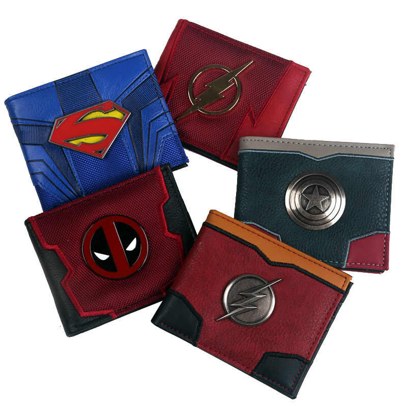 new arrival 2018 New Design Comic captain marvel The Flash Superman  Deadpool   Bi-Fold Wallet  ID window Credit card slot
