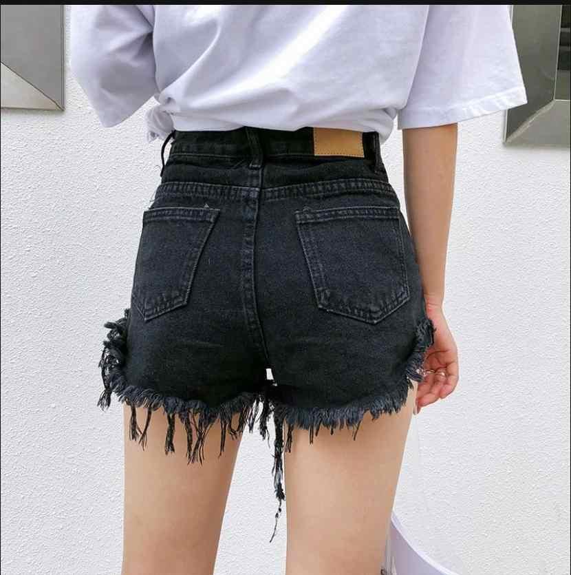 Новые женские рваные джинсовые шорты с заклепками и кисточками, с высокой талией, широкие джинсы в стиле панк, популярные шорты, сексуальные шорты, J2939