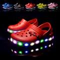Лето девочки мальчики мультфильм автомобиль повседневная обувь принцесса сандалии детские тапочки ЕВА пляжная обувь флип-флоп СВЕТОДИОДНЫЕ фонари обувь 16O101