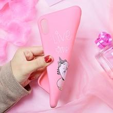 Cartoon Pink Unicorn Soft Phone Case for iPhone