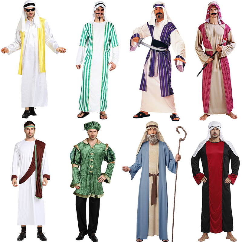 Halloween Adult Men Women Cosplay Clothes Couple Arab Prince Princess Costumes Middle East Dubai Cos Clothing Emirates Clothes