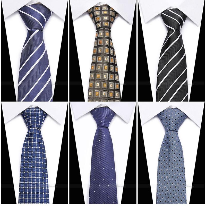 wholesale Exclusive 59 Long Mens Skinny Ties Black Polyester Silk Plaids Stripes Dots Jacquard Narrow 2 Necktie Neck tie Party