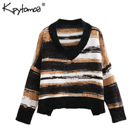 Vintage Stylish Color Striped Chenille Short Knitted Sweater Women 2018 Fashion V Neck Long Sleeve Pullovers Casual Pull Femme