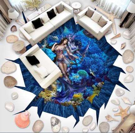 [Self Adhesive] 3D World Of Warcraft Seabed 7 Non slip Waterproof Photo Self Adhesive Floor Mural Sticker WallPaper Murals Print