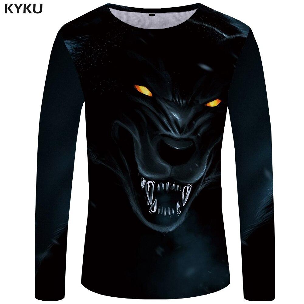 KYKU Wolf   T     shirt   Men Long sleeve   shirt   Animal Cool New Hip hop Black Anime Clothes Japan Mens Clothing Fashion Man Slim