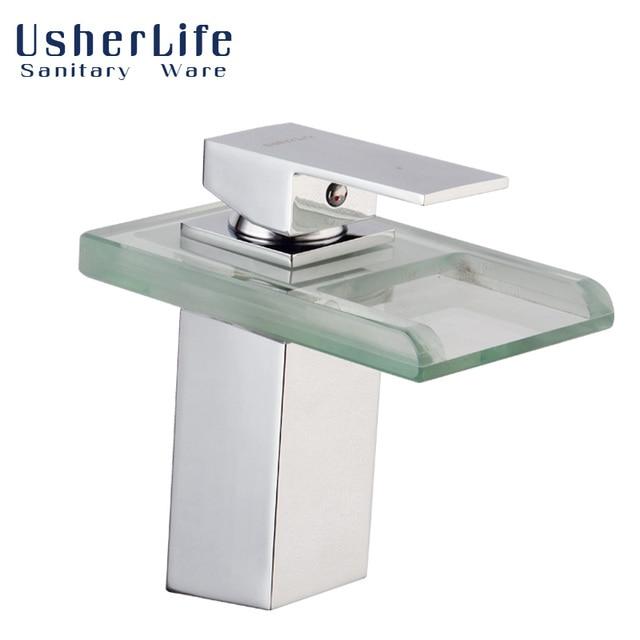 Usherlife Led Wasserfall Wasserhahn Deck Montiert Badezimmer  Waschtischarmaturen 3 Farben Geändert Temperatur Sensor Mischbatterien
