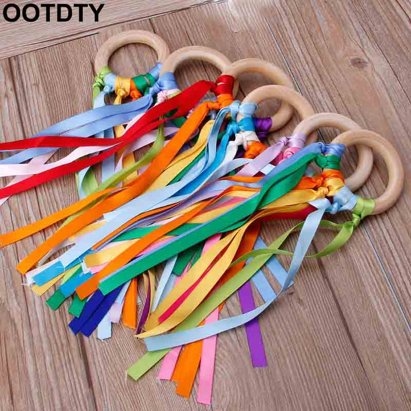 Rainbow Natural Wooden Ribbon Ring Waldorf Toys Baby Teether Newborn Sensory Toy Shower Gift