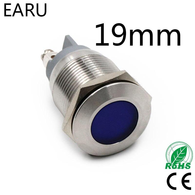 19mm Waterproof IP67 LED Metal Signal Indicator Lamp Light Pilot Warning Power Screw 5V 12V 24V 110V 220V Red Blue Green Yellow