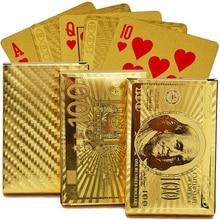 24K Gold Playing Cards Poker Game Deck Gold Foil Poker Set Plastic Magic Card Waterproof Cards Magic US Dollar Poker Cards 2019 все цены