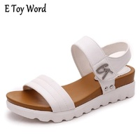 Thick Soled Sandals Female Summer 2016 New Students A Slip With Flat Sandals All Match Muffin