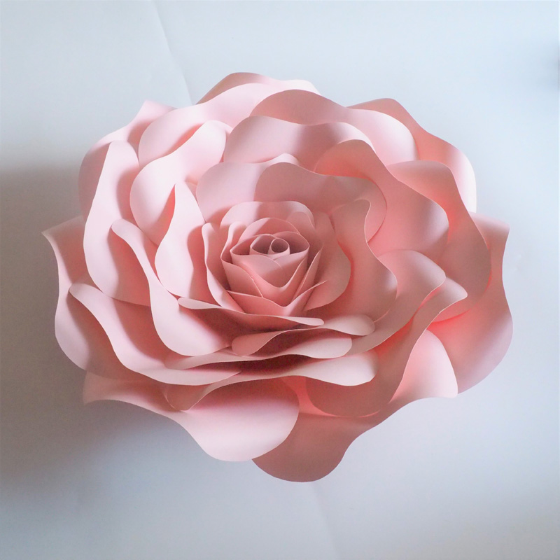 2018 baby pink rose giant paper flowers backdrop 10pcs gold leaves photos list mightylinksfo