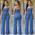 Women Sexy Jeans Jumpsuit Romper Sleeveless Full Length Ladies Elegant Backless Bodycon Overalls