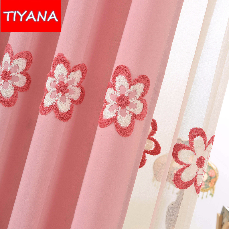 Pastoral Fresh Curtains For Kids Room Embroidered Floral Curtain Drapes And Tulle For Baby Girls