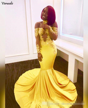 Yellow See Through Long Mermaid Prom Dress 2019 New Sleeve Lace Appliques Sweep Strain Party Gowns Custom Made Evening Dr