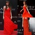 Gasa del Halter Angelina Jolie Red Carpet Oscar vestido de 2014 elegante piso de longitud gasa vestidos largos Celebrity sin respaldo Festa