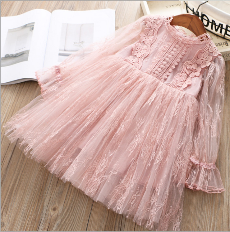 Princess Dress 2019 Spring Kids Party Dresses  Sweet Girl Lace T Dresses High-grade  Princess Costume Children Dress