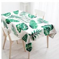 Nordic fresh green leaves tablecloth Cotton linen coffee table cloth tea table mat water proof
