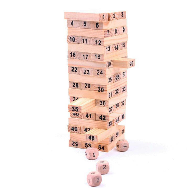 Pine  boxed 54 tablets to send 4 dice Dumpling blocks Dominoes Small digital layer stacking Kids Baby Toys