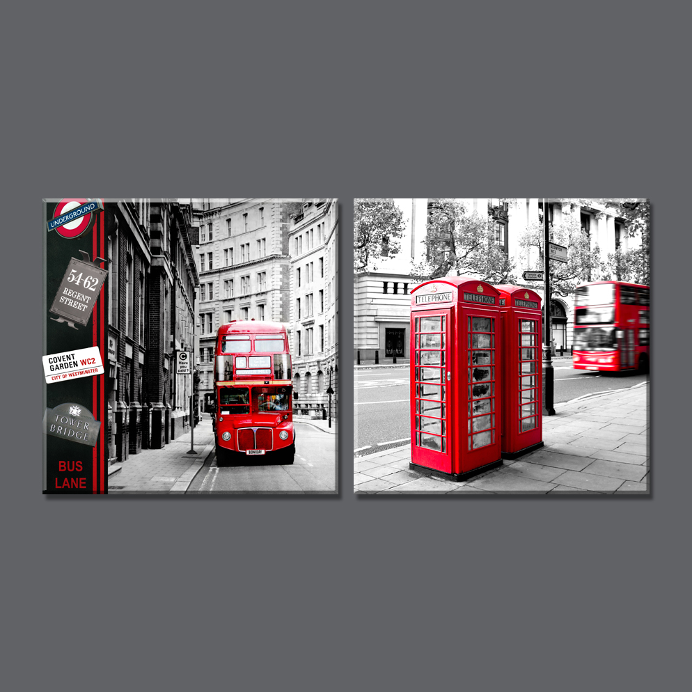 Buy 2 panel modern london city canvas art for Home accessories london