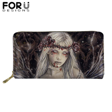 цена New Customized Picture PU Leather Wallets Woman Lady Gothic Dark Art Print Zipper Purses Girls Money Coin Bag Card Holders онлайн в 2017 году