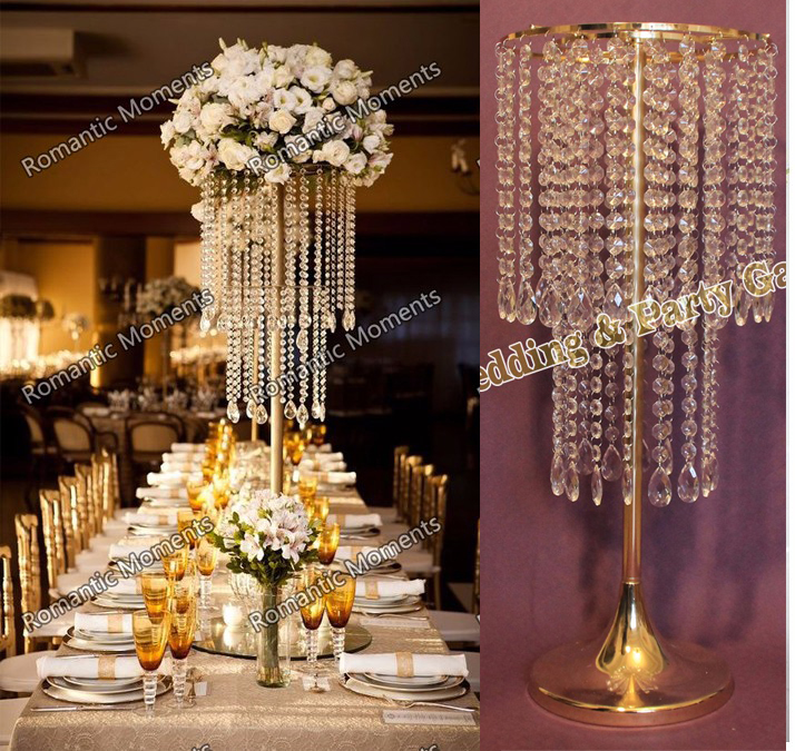 Free Shipping 24 4 H Wedding Crystal Table Centerpiece Gold Flower Stand Chandelier