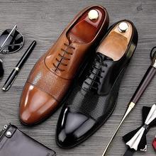 Летний стиль 2017 г. человек ручной работы свадебные туфли Мужской натуральная Кожаные модельные туфли оксфорды острый носок Формальные Для Мужчин's Дышащая обувь на плоской подошве MG34