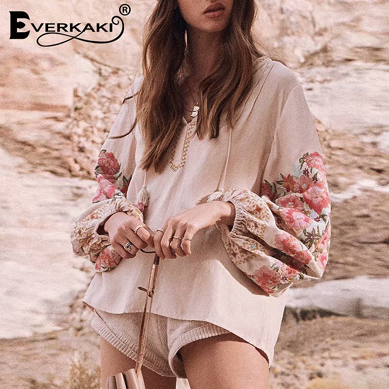 Everkaki Embroidery Boho Womens Tops And   Blouses     Shirts   With Tassel Loose Bohemian Cotton Long Sleeve   Blouse   Top Women 2019