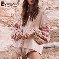 Everkaki Embroidery Boho Womens Tops And <font><b>Blouses</b></font> <font><b>Shirts</b></font> With Tassel Loose Bohemian Cotton Long Sleeve <font><b>Blouse</b></font> Top Women 2018