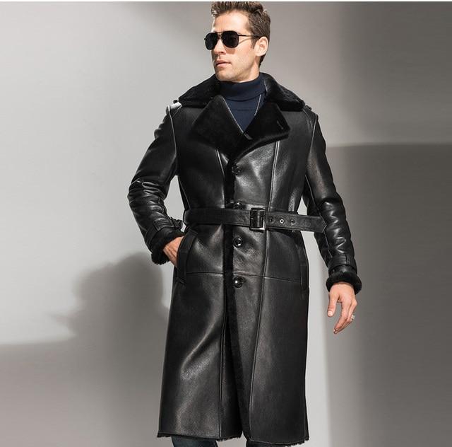 Top Hommes En Peau de Mouton de Manteau X long Hommes Noir Véritable  KR94