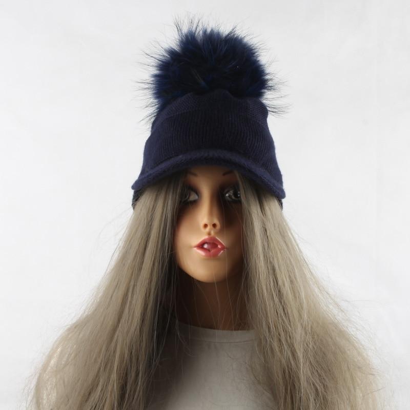 FURANDOWN 17 New Real Fur Pom pom Cap For Women Spring Autumn Baseball Cap With Raccoon Fur pompoms Brand Snapback Caps 17