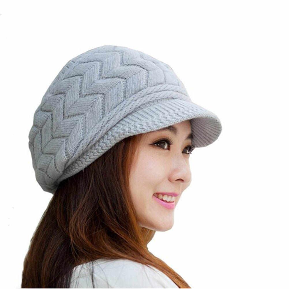 Detail Feedback Questions about Women Winter Warm Knit Hat Wool Snow Ski Cap  With Visor (Grey) on Aliexpress.com  6e0cfa0b5c9