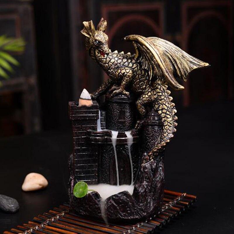 Décor à la maison Ornements Dragon Garde un Château Refoulement Encens Brûleur En Céramique Artisanat De Bois De Santal Aromathérapie Four avec Boîte-Cadeau